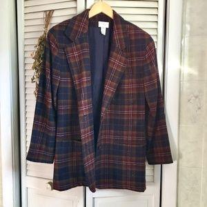 {Vintage Van Heusen} Heavy Wool Dark Plaid Blazer